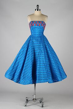 1950s Strapless Cocktail Dress