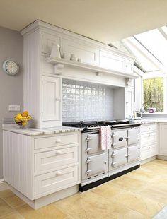 European Farmhouse Kitchen Decor Ideas - Bardalph News Kitchen Mantle, Aga Kitchen, Kitchen Cooker, Farmhouse Kitchen Decor, Kitchen Tiles, Country Kitchen, Kitchen Cabinets, Kitchen Appliances, Aga Cooker