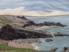 North Wales cliffs tapestry using Axminster rug wool, by Kate Luder. #rugwool #tapestry #yarn