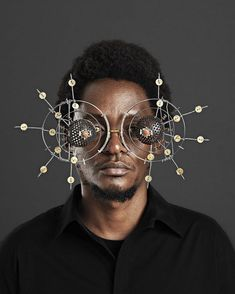 Self-taught emerging artist, Cyrus Kabiru creates expressive sculptural eyewear made from found and recycled objects.