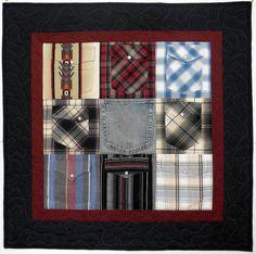 Memory Quilt Wall Hanging using shirt pockets!