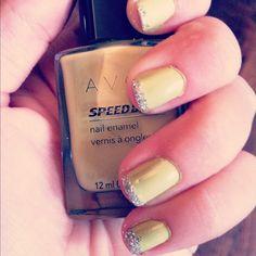 Cool melon Avon nail polish with sparkle tips
