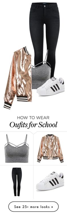 """High school // desc."" by jackrabbit0823 on Polyvore featuring Sans Souci and adidas Originals"
