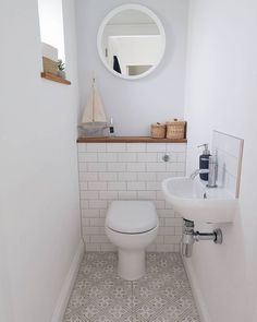 Ideas for the toilet. Ideas for the toilet on the ground floor. Ideas for the small bathroom. Small Downstairs Toilet, Small Toilet Room, Downstairs Cloakroom, Small Bathroom Tiles, Simple Bathroom, Bathroom Ideas, Small Tiles, Bathroom Makeovers, Bathroom Designs