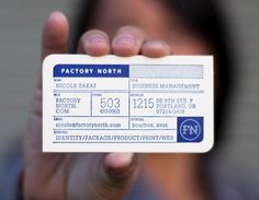 "Designed by Factory North | Country: United States  ""Business card design for Factory North. Inspired by the design of industrial forms and printed in Reflex blue, a color that was traditionally used in the hand print making process, to show respect for the history of its usage. The paper weight was chosen to accomplish the double-sided deep letterpress impression."""