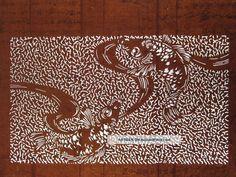 Antique 19c Japanese Ise Katagami Kimono Stencil Art Edo - Meiji Period 型紙 1752_ http://ancientpoint.com/inf/59014-antique_19c_japanese_ise_katagami_kimono_stencil_art_edo___meiji_period__1752.html