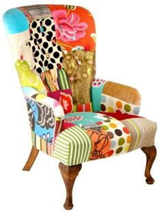 One of Kelly Swallow's stunning patchwork chairs.