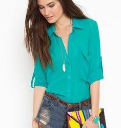 camisas femininas de chiffon verde
