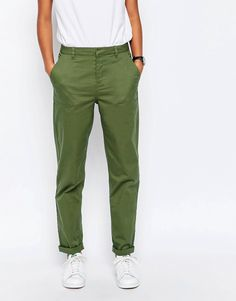 ASOS Casual Chino Trousers with Roll Hem  #pants #green #military