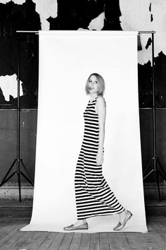 black and white stripped maxi via A Beautiful Mess... their spring collection.