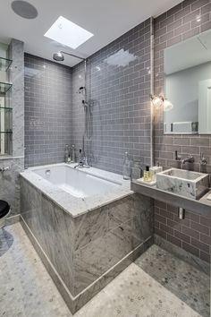 Master Bathroom, Bath, Marble, Tiling, Sink, Bathroom Mirror, Apartment, Gatti House, The Strand, London, Interior Design, Home Decor, Interior Decoration, Barlow & Barlow