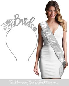 5c786c9d7db8a Our lovely silver satin sash and headband set features delicate white  roses! This set of