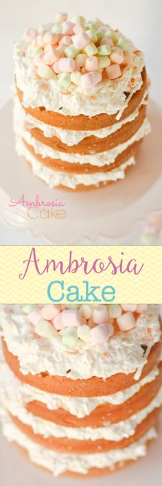 Ambrosia Cake -- so light and creamy. The cake soaks up the Ambrosia and makes it moist and full of flavor. We love this, it's perfect for Easter and Spring!!