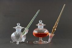 Murano Venetian glass pens with inkwell and holder