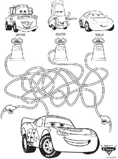 Can you make it to the finish line with this Disney Cars coloring page? Omalovánky K Tisku, Disney Cars, Party Printables, Digi Známky