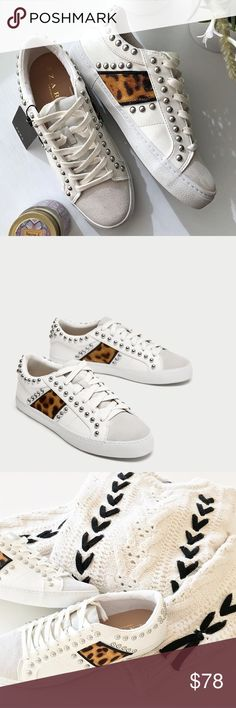 New Zara Studded Sneakers Bloggers Favorite New with tags! They run a little bit big so it would fit perfectly a size 8.5. I use size 9 and 9.5 and was able to fit in them but they were too tight. Zara Shoes Sneakers