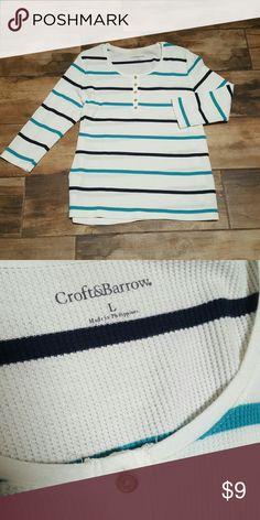 Thermal top 3/4 sleeve thermal style shirt croft & barrow Tops Tees - Long Sleeve