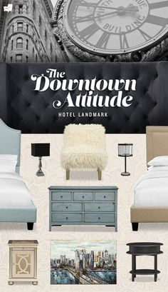 Get inspired by the cool, hip and modern style of our Hotel Landmark bedroom collection. This collection takes its cues from downtown New York architecture. Dream Bedroom, Home Bedroom, Bedroom Decor, Master Bedroom, Bedrooms, Apartment Living, My Dream Home, Home And Living, Home Furnishings