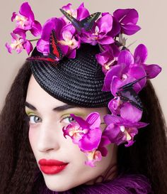 Divine Orchid and Butterfly Fascinator - zaracarpenter