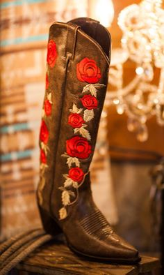 Liberty Black Brown and Red Rose Boots
