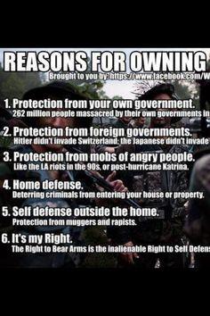 Reasons to own a gun. #Support the 2nd Amendment