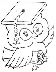 coloring pages for graduation. Graduation day is a day that students always look forward to. Whether it's high school graduation, college or even junior high school, this graduation. Coloring Pages To Print, Coloring Book Pages, Coloring For Kids, Printable Coloring Pages, Felt Crafts Patterns, Owl Patterns, Embroidery Patterns, Graduation Cap Drawing, Orla Infantil