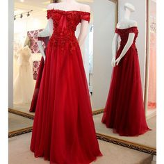 Red Off the Shoulder Applique Lace Pretty Long Prom Dresses, PM0164