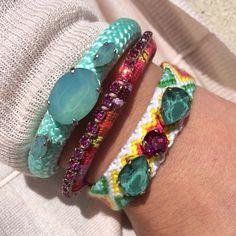 Climbing cord bracelets and friendship bracelets with precious stones