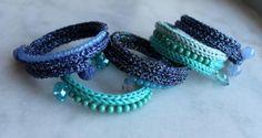 bracciale cotone e lurex bracciale cotone,filato di lurex,perle tricotin,assemblaggio