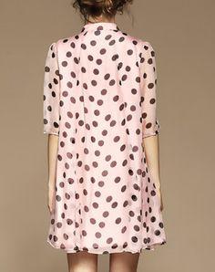 Pink Silk Polka Dot A Line Half Sleeve Mini Dress