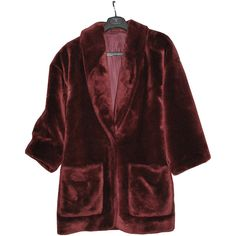 FREESHIP: Vtg. Maroon/ Oxblood Faux Mink Fur Coat ($115) ❤ liked on Polyvore featuring outerwear, coats, jackets, coats & jackets, vintage mink coat, red mink coat, vintage mink fur coat, heavy coat and mink fur coat