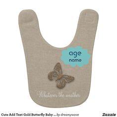Cute Add Text Gold Butterfly Baby Bib