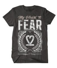 My Heart To Fear. Black T-shirt. Front only.Item On Pre Order - In Stock mid/late Feb.
