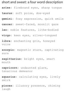 Four word descriptions of the signs