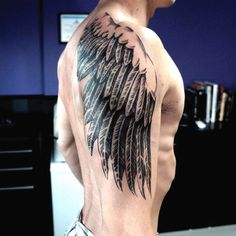 Male Dragon Wing Tattoo On Upper Arm
