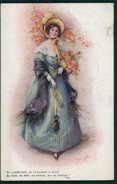 art Aveline glamour Lady & lord Byron poem original old 1910s postcard a06