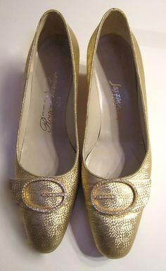 Vintage Roger Vivier shoes in gold with rhinestone buckle in Catherine Deneuve Belle du Jour style. $165.00, via Etsy.