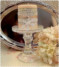 Creating Christmas Shabby Chic Altered Candle & Candle Holder for under $5.00 Tutorial, DIY, Craftshttp://alyssabeth1.blogspot.com/2011/12/creating-christmas-shabby-chic-altered.html
