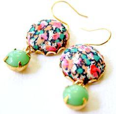 Black Flower Fabric Button Earrings by NestPrettyThingsShop, $24.00