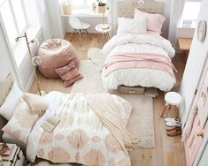 PBdorm's dorm room essentials create a stylish space for lounging, studying & sleeping. Find ideas, products and dorm room decorating tips. Room Design Bedroom, Girl Bedroom Designs, Small Room Bedroom, Girls Bedroom, Bedroom Decor, Cute Bedroom Ideas, Aesthetic Bedroom, My New Room, Girl Room
