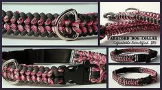 Adjustable Paracord Dog Collar Super cute pink and charcoal collar made using a Sanctified weave.