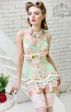 Mint and rose colored lingerie and corset. It would look awful on me, but it's lovely on her. Julina manage to make ruffles and pastels sexy and pretty rather than juvenile and ridiculous. Lingerie Vintage, Belle Lingerie, Corset Vintage, Pretty Lingerie, Beautiful Lingerie, Sexy Lingerie, Women Lingerie, Classic Lingerie, Corsets