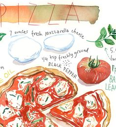 Format: Vertical or Horizontal Archival giclee reproduction print. Printed on fine art BFK Rives Kitchen Prints, Kitchen Wall Art, Watercolor Food, Watercolor Print, Pizza Kunst, Pizza Art, Pizza Sign, Turquoise Kitchen Decor, Kitchen Drawing