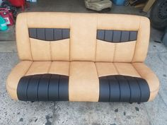 1956 Ford F100 bench seat. Automotive Upholstery, Car Upholstery, Bike Seat, Bench Seat, 1956 Ford F100, Car Chair, Car Interiors, Chevy Pickups, Boat Design