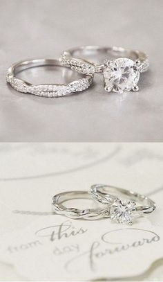 twist vintage wedding rings set / http://www.deerpearlflowers.com/twisted-engagement-rings-wedding-rings/