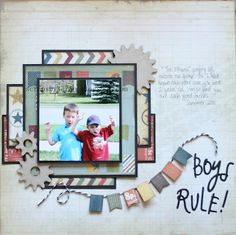 boy layout - Could use pinks for a girl page