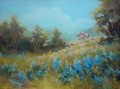 """Hill Country Ponies""  Acrylic painting by Margie Whittington"