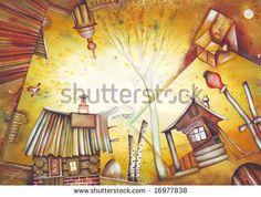 Russian village. Illustration by Eugene Ivanov. - stock photo