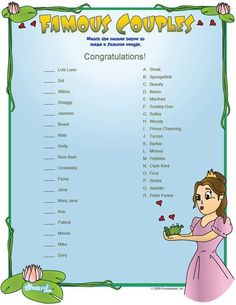 Famous couples bridal shower game, bridal shower trivia game cards