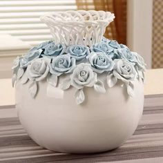 Hot-selling home decoration handmade ceramic flower vase wedding gift - Clay Flowers, Ceramic Flowers, Wine Bottle Crafts, Bottle Art, Small Flower Pots, Clay Wall Art, Pottery Painting Designs, Clay Art Projects, Vase Crafts